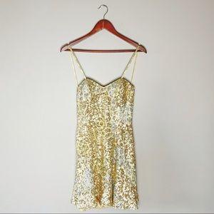 Scala silk sequin strapless party dress